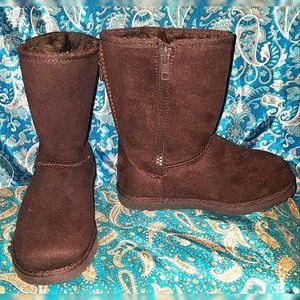 NWOT Girls Sonoma Fur Lined Dark Brown Boots Sz 11